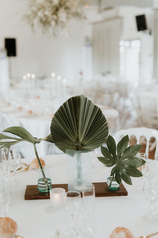 centre de table feuillage naturel exotique decoration mariage nantes